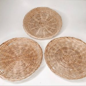Other - Boho Set of 3 Woven Hanging Wall Baskets